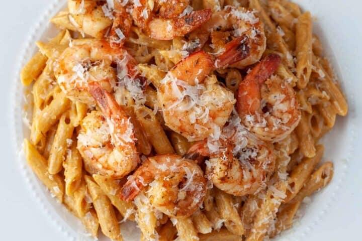 Overhead view of a plate of Cajun shrimp pasta/