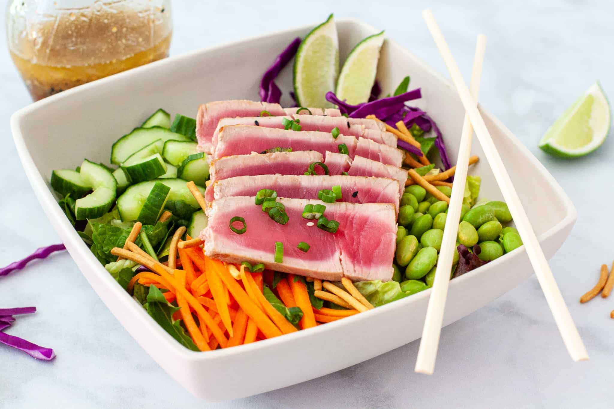 Side angle view of a serving of Asian chopped salad.