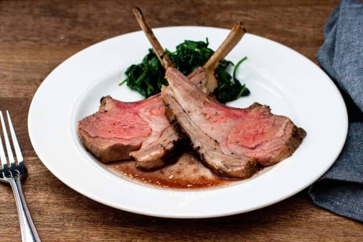 Garlic and Herb Crusted Rack of Lamb served on plate