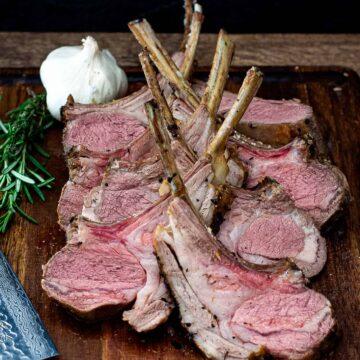 Sliced rack of lamb