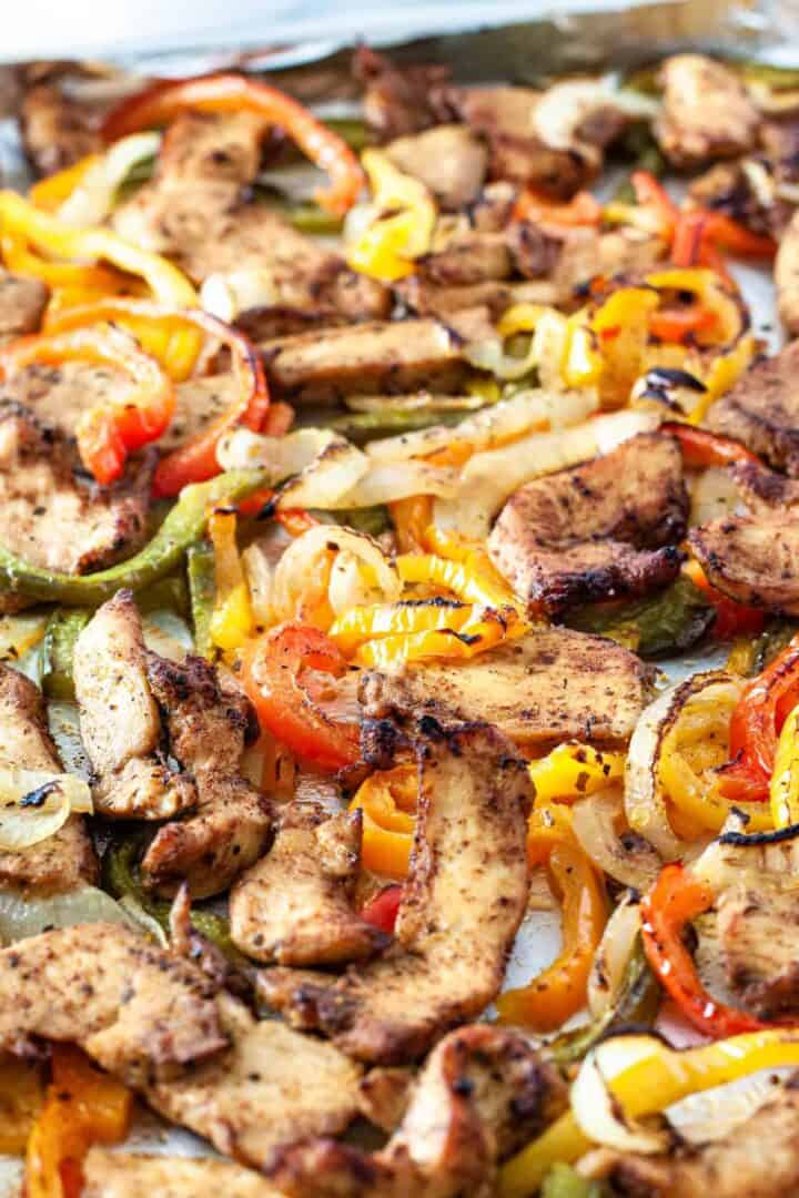Close up of sheet pan chicken fajitas.