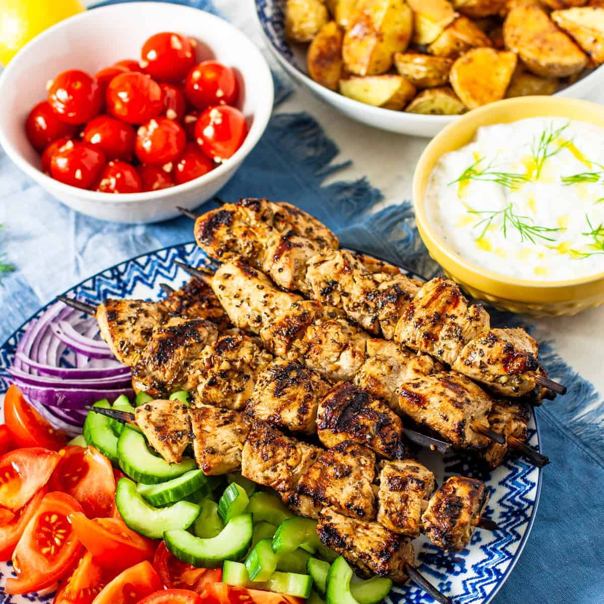 Greek Chicken Souvlaki Kebabs Dishes With Dad