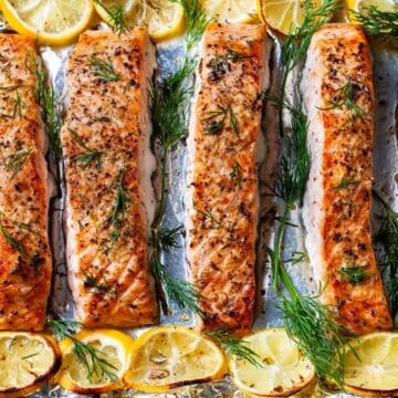 lemon dill salmon on sheet pan