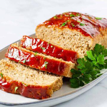 sliced turkey meatloaf on platter
