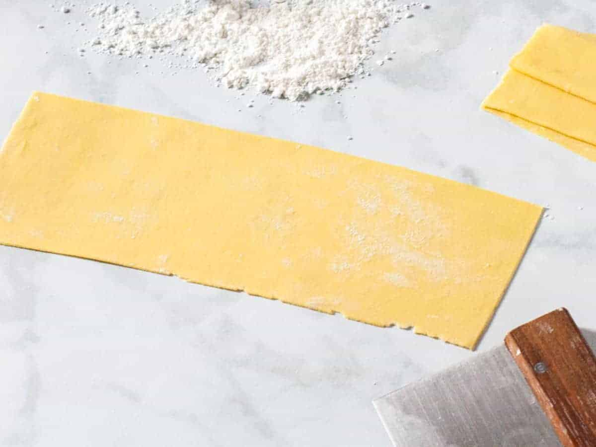 Homemade fresh pasta dough is shown rolled out and cut into lasagna noodles.