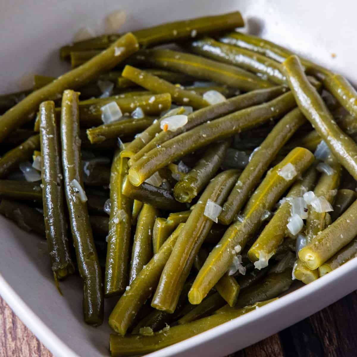 Instant pot Southern style green beans shown in a serving bowl.