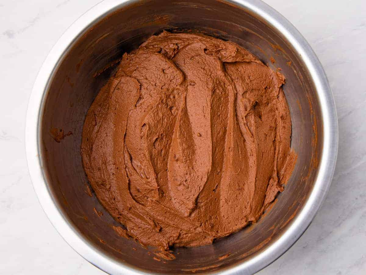 Chocolate mousse shown in a mixing bowl.