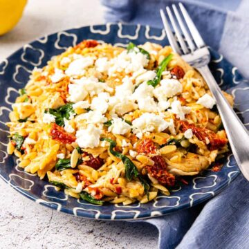 Side angle view of a plate of chicken and orzo with sun-dried tomatoes and spinach topped with crumbled feta cheese.