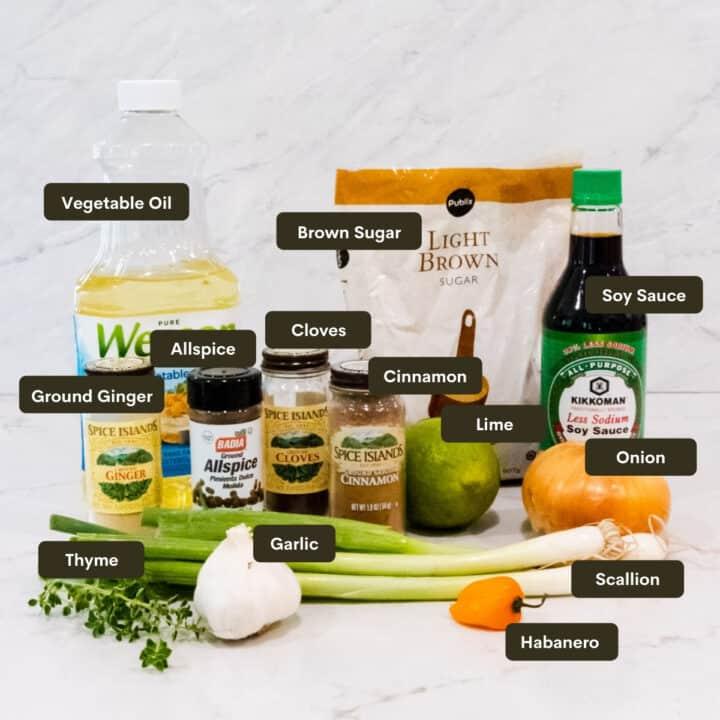 Jerk chicken marinade ingredients.